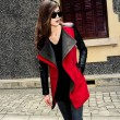 Warmer Wollmantel Pelzkragen Kontrastfarbe Jacke Mantel
