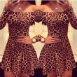 Reizvoller Leoparden Drucken Langarm Kleid