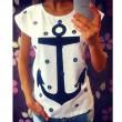 Freizeit Mädchen Anker-Punkt-Muster Kurzarm Hohlkreuz T-shirt