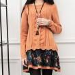 Winter Lose Strickwaren Spleißen Twist-Muster Blume Mantel Pullover Kleid