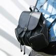 Lässige Solide doppelte Reißverschluss-Taschen Kordelzug Eimer-Schule-Beutel Reisen Rucksack