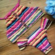 Printing-Verband-Bikini-Satz Frauen Striped Badeanzug-Badebekleidung