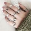 Vintage Strass Knuckle Plain Thai Silber paar offene Ringe gesetzt