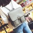 Britisch Glänzend Platz PU Metallschloss Match Flap Zwei Taschen Draußen Student Rucksack