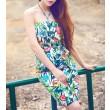 Sommer blüht Drucken-Chiffon- Strand-Halfter Kleid