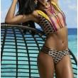 Weste Stil Teilt Badeanzug Seil-Plaid Streifen Geometrischer Druck Bikini