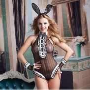 Sexy Hasenmädchen Cosplay Schwarz Einteiliges Uniform Neck Bow Nachtclub Kostüm verbunden Dessous