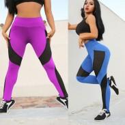 Sexy Kontrastfarbe Hüften Schlanke Yoga-Maschen mit hoher Taille die Sportgamaschen nähen