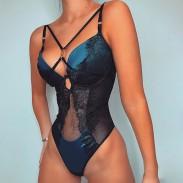 Blau Teddy Dessous für Frauen Mesh Stitching Ring Schnalle Korsett Spitze Einteilige Bügel Bodysuit Dessous