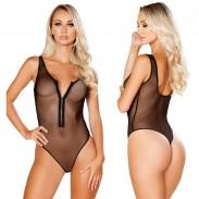 Sexy einteilige Unterwäsche mit Reißverschlussperspektive Schwarz Gittergewebe Verbundene Damenwäsche
