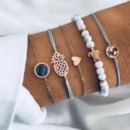Retro Perlen Karte Schildkröte Blue Diamond Ananas Liebe Schwarz Türkis Fünf Stück Set Armband