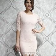 Einzigartige Hellrosa dünne Spitze Partei Kleid
