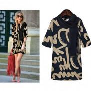 Mode Leinen gedruckt halbe Hülsen-Kleider