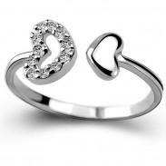 Romantischer Liebhaber-Ring-Doppeltes Herz-Paar-Silber-Zircon-geöffneter Ring