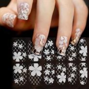 Frische weiße hohle Spitze-Blumen-Diamant-Volldeckung-Nagel-Kunst-Aufkleber-Abziehbilder