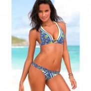 Sexy Frau Bikini Rot Blau Blume Gedruckt Beachwear Bademode