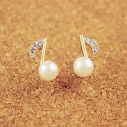 Lady Inlay Diamant-Perlen-Musik Hinweis Vergoldete Ohrringe