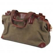 Retro Spleißen Echtes Leder Große Kapazität Segeltuch Reise Reißverschluss Handtasche Schultertasche