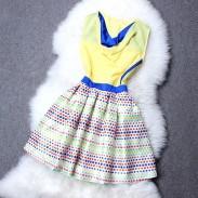 Wellen-Punkt-Stickerei-Farbabstimmung Kleid