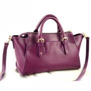 Elegante lila Lässig Mode Leder Handtasche Lächeln