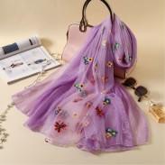Fresh Multi-Color Flower Summer Silk Women Scarves Embroidered Scarf