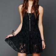 Durchsichtig Ärmelloses Blumen-Muster-Spitze-Kleid