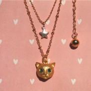 Nette Katze Tiersternrhinestone -Halskette Ring