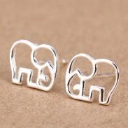 Nette Hohl Elephant Silber Ohrring Bolzen