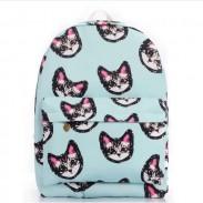 Hellblau süße reizende Kätzchen Drucken Segeltuch-SchuleTasche Schultaschen Rucksack