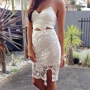 Unregelmäßige hohle Blumen-Spitze-weißes Bra Kleid