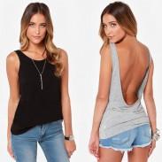 Sexy Dame zurück Tief V Tshirt