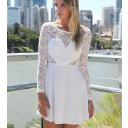 Heiß Verkauf Rückenfreies Spitze Volant-Kleid