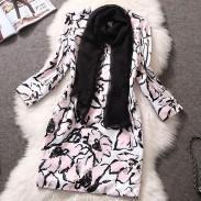 Große Blumen-Druck mit Schals Schlank Schneiden-Kleid