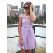 Reizvolle Rückenfreies stickte Spitze Stitching Chiffon-Kleid