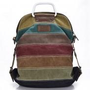 Retro Spleißen Bunte Gestreifte Leinwand Rucksack Schule Umhängetasche Handtasche Multifunktionale Rucksäcke