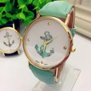 frische Blumen Anker-Muster Metall PU Uhr