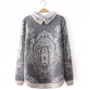 Perlen-Diamant-Spitze-Kragen-Stitching Totem Pullover