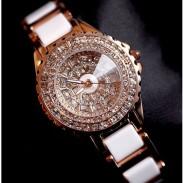 Edle weiße keramische Bügelrhinestone-Uhr-Luxus-Diamant-Frauen-Golduhr