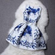 Klassische Blumen-Druck Taille Reißverschluss-Kleid