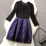 Retro Spitze Jointed Netz Mid-lang gefaltete Kleid