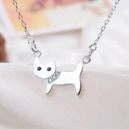 Nette Katze Tier silberne hängende Halskette / Schmucksache-Geschenk