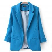 Süßigkeit Farbe lange Ärmel Revers Anzug Jacke