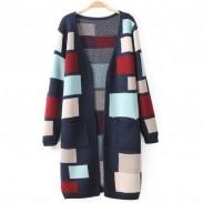 Mode farbige Gitter lange Strickjacke Mantel