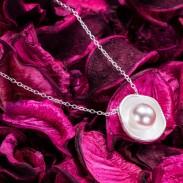 Einzigartig Lotus Muster Perlen-Silber-Anhänger-Halskette