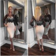 Arbeiten Sie Spitze Spleiß Reizvoller dünnes Kleid