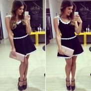 Neue weiße Spitze-Ärmelloses Schwarz Minikleid