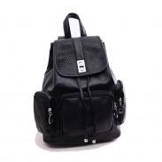 Lässige Kleidung Mode DiamantGitter Kordelzug Haspe drei Taschen Solide Leder Rucksack