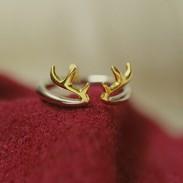 Personalisierte Geschenke Antler 925 Sterlingsilber-Öffnungs-Ring