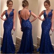 Dünner tiefer V rückenfrei Spitze-Kleid-Kleid