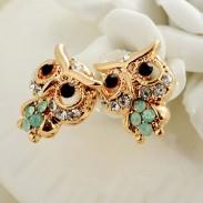 Raffinierten Diamant-nette Baby-Eulen-18K vergoldeten Art und Weise Ohrringe